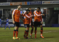 Luke Gambin of Luton Town (second on the left) celebrates his goal during the Sky Bet League 2 match between Luton Town and Hartlepool United at Kenilworth Road, Luton, England on 14 March 2017. Photo by Liam Smith.