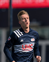FOXBOROUGH, MA - MARCH 7: Adam Buksa #9 of New England Revolution celebrates his first goal as New England Revolution player during a game between Chicago Fire and New England Revolution at Gillette Stadium on March 7, 2020 in Foxborough, Massachusetts.