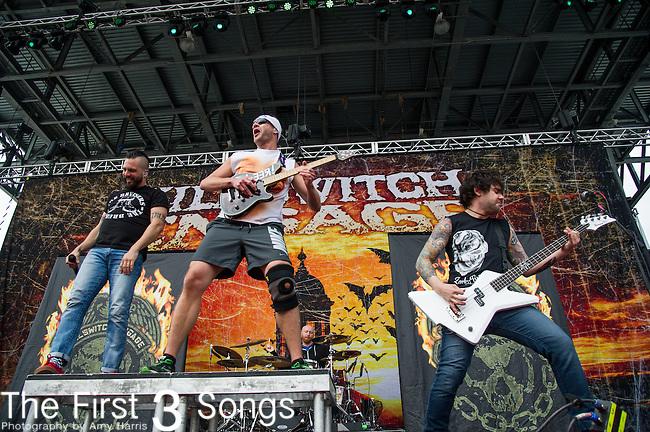 Adam Dutkiewicz and Mike D'Antonio of Killswitch Engage performs during the 2014 Rock On The Range festival at Columbus Crew Stadium in Columbus, Ohio.