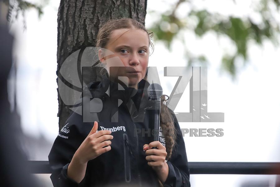 NOVA YORK, EUA, 28.08.2019 - GRETA-THUNBERG - A ativista climática sueca Greta Thunberg, 16 anos, fez uma jornada de 15 dias cruzando o Atlântico no Malizia II, um iate zero carbono chegou na Ilha de Manhattan em Nova York na tarde desta quarta-feira, 28. (Foto: Vanessa Carvalho/Brazil Photo Press)