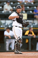 Bradenton Marauders catcher Jin-De Jhang (47) during a game against the Jupiter Hammerheads on June 25, 2014 at McKechnie Field in Bradenton, Florida.  Bradenton defeated Jupiter 11-0.  (Mike Janes/Four Seam Images)