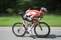 One of the tallest riders in the peloton Marcel Sieberg (DEU/Lotto-Soudal) tucked up on his frame to minimise drag & maximise speed (going down)<br /> <br /> stage 4: Hotel Verviers - La Gileppe (Jalhay/BEL) 186km <br /> 30th Ster ZLM Toer 2016