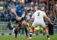 Rugby, Torneo delle Sei Nazioni: Italia vs Inghilterra. Roma, 14 febbraio 2016.<br /> Italy&rsquo;s Sergio Parisse, left, is challenged by England&rsquo;s Dylan Hartley during the Six Nations rugby union international match between Italy and England at Rome's Olympic stadium, 14 February 2016.<br /> UPDATE IMAGES PRESS/Riccardo De Luca