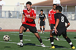 Palos Verdes, CA 02/03/12 - Oscar Chacon (Peninsula #8) and Michael Meissner (Palos Verdes #10) in action during the Peninsula vs Palos Verdes boys varsity soccer game.