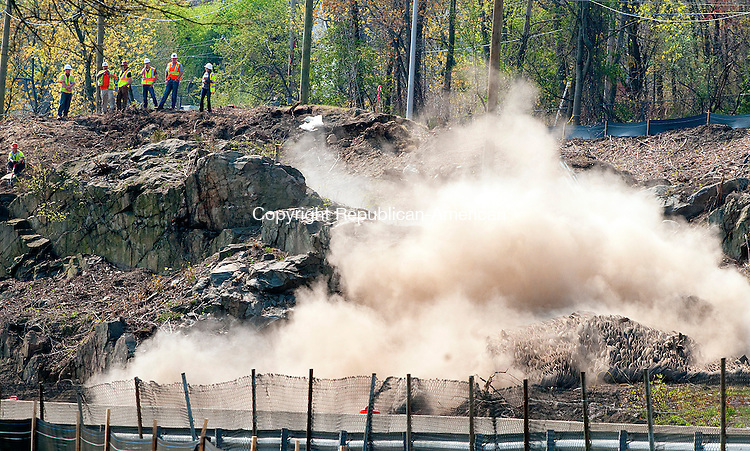 WATERBURY, CT--050515JS01- Blasting operations as part of the I-84 project began on Tuesday morning and is expect to continue until 2016. Traffic in the area is shut down for safety reasons and delays were only for about five minutes. <br />  Jim Shannon Republican-American