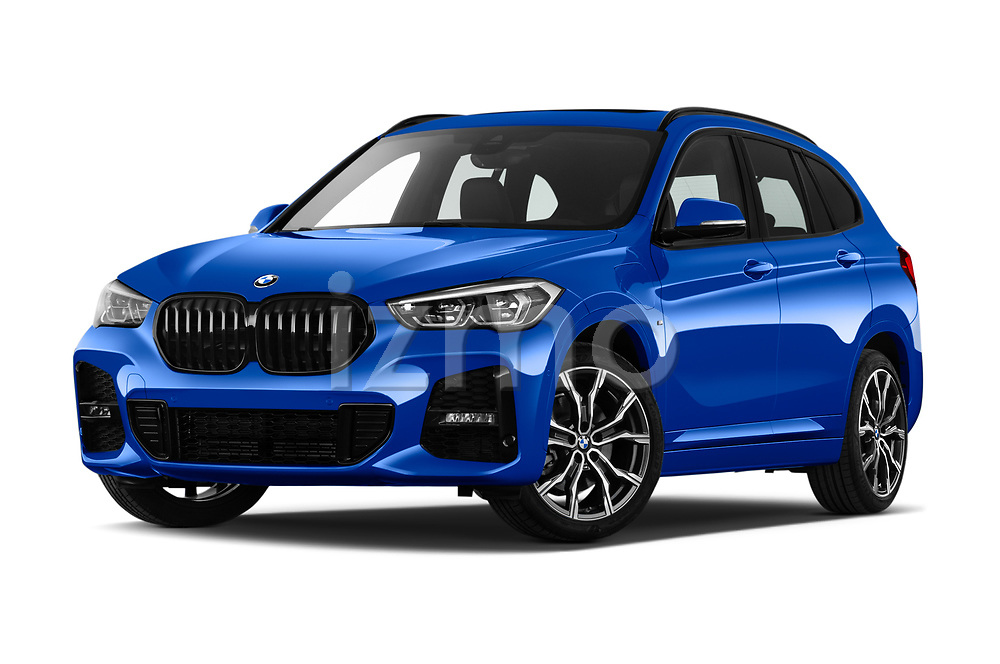 Stock pictures of low aggressive front three quarter view of 2020 BMW X1 M-Sport 5 Door SUV Low Aggressive
