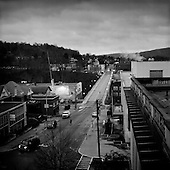 Morgantown, West Virginia.USA.January 14, 2005..Central street at sunrise.
