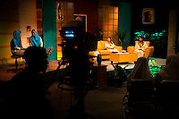The 'Twin Teachers', Rian and Rossy (right of picture), during a recording of a television talk show dealing with education issues. Since the early 1990s, twin sisters Sri Rosyati (known as Rossy) and Sri Irianingsih (known as Rian) have used their family inheritance to set up and run 64 schools in different parts of Indonesia, providing primary education combined with practical skills to some of the country's most deprived children.