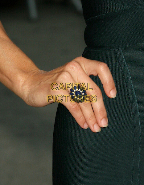 "KATE WALSH.Appearance on the ""Late Show with David Letterman"".at the Ed Sullivan Theater, New York, NY, USA, October 1st 2008..detail hand ring blue stones  .CAP/LNC/TOM.©LNC/Capital Pictures"