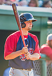 29 June 2014:  Lowell Spinners first baseman Sam Travis in action against the Vermont Lake Monsters at Centennial Field in Burlington, Vermont. The Spinners defeated the Lake Monsters 7-5 in NY Penn League action. Mandatory Credit: Ed Wolfstein Photo *** RAW Image File Available ****