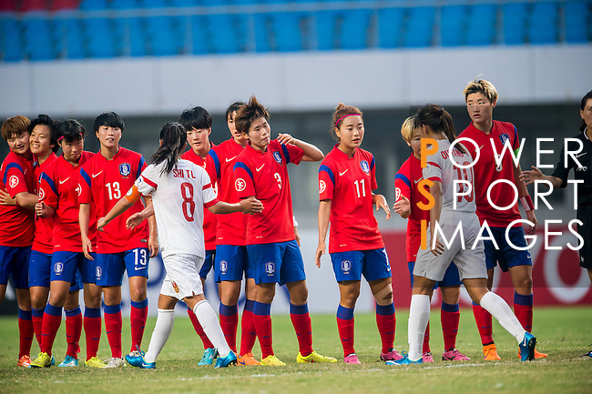 China PR vs Korea Republic during the AFC U-19 Women's Championship China 3rd and 4th place match at the Jiangning Sports Centre Stadium on 29 August 2015 in Nanjing, China. Photo by Aitor Alcalde / Power Sport Images