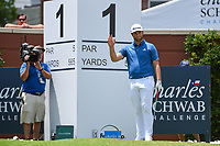 Jon Rahm (ESP) waves to the crowd after being itroduced on the tee on 1 during round 1 of the 2019 Charles Schwab Challenge, Colonial Country Club, Ft. Worth, Texas,  USA. 5/23/2019.<br /> Picture: Golffile | Ken Murray<br /> <br /> All photo usage must carry mandatory copyright credit (© Golffile | Ken Murray)