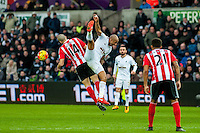 Oriol Romeu of Southampton  and ~Andre Ayew of Swansea in action during the Barclays Premier League match between Swansea City and Southampton  played at the Liberty Stadium, Swansea  on February 13th 2016