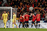18th November 2019; Wanda Metropolitano Stadium, Madrid, Spain; European Championships 2020 Qualifier, Spain versus Romania;  Gerard Moreno (esp)  celebrates his goal which made it 4-0 - Editorial Use