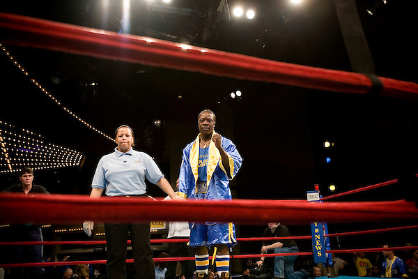 Peter Lawson, 24, of Team Animal out of Gleason's Gym, is awarded the title after his opponent had to bow out due to a leg injury.. Thursday was the first night of the finals of the  79th annual Golden Glove Boxing tournament. Boxers from all over the New York who made it through the previous rounds were on hand at Madison Square Garden to compete for the coveted Golden Gloves Champion title.