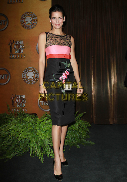ANGIE HARMON.17th Annual Screen Actors Guild Awards Nominations Announcement held At The LA Pacific Design Center, West Hollywood, CA, USA..December 16th, 2010.full length black pink sheer sleeveless dress floral print SAG.CAP/ADM/KB.©Kevan Brooks/AdMedia/Capital Pictures.