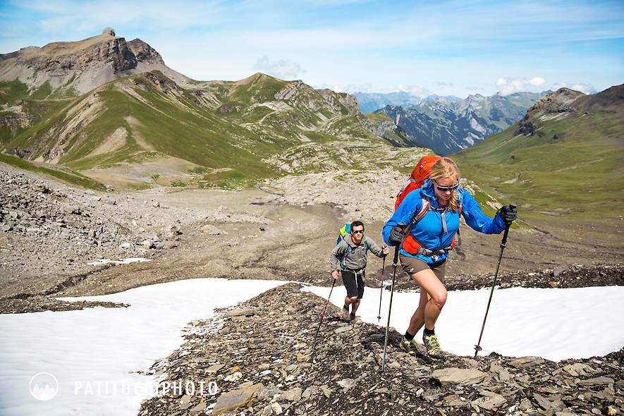 Hiking up a steep rocky trail from the Soustal to the Schilthorn while on a hiking tour to Kandersteg, Switzerland