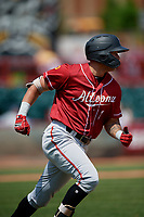 Altoona Curve Bligh Madris (7) runs to first base during an Eastern League game against the Erie SeaWolves and on June 4, 2019 at UPMC Park in Erie, Pennsylvania.  Altoona defeated Erie 3-0.  (Mike Janes/Four Seam Images)