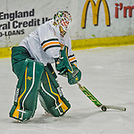 21 February 2015:  University of Vermont Catamount Goaltender Mike Santaguida, a Sophomore from Mississauga, Ontario, corrals the puck in the first period against the Merrimack College Warriors at Gutterson Fieldhouse in Burlington, Vermont. The teams played to a scoreless tie as the Cats wrapped up their Hockey East regular home season. Mandatory Credit: Ed Wolfstein Photo *** RAW (NEF) Image File Available ***