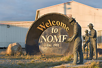 Welcome to Nome sign in the coastal community of Nome, Alaska, located along the Norton Sound on Alaska's arctic west coast.