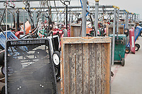 Wagons are locked by the dock at fire island in Ocean Beach, NY, Wednesday August 3, 2011. Wagons are used by residents in this car-free community to haul goods from the ferry to their house.
