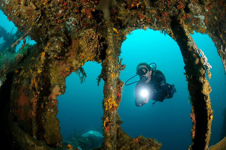A diver explores the Mawali wreck (also lknown as Tanduk Rusa). This  Japanese cargo ship was scuttled and sunk in 1943 during WW2, Lembeh Strait, Indonesia