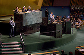 United States President Barack Obama  delivers remarks at the Millennium Development Goals Conference in the United Nations Building, New York City, New York on Wednesday, September 22, 2010. .Credit: Emily Anne Epstein - Pool via CNP