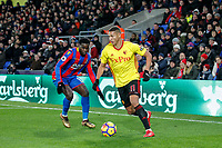 Richarlison of Watford & Jeffrey Schlupp of Crystal Palace  during the Premier League match between Crystal Palace and Watford at Selhurst Park, London, England on 12 December 2017. Photo by Carlton Myrie / PRiME Media Images.