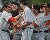 Carey teammates celebrate after a home run by Joe Filardo #21 in the top of the second inning of a Nassau County varsity baseball game against host Garden City High School on Monday, May 9, 2016.