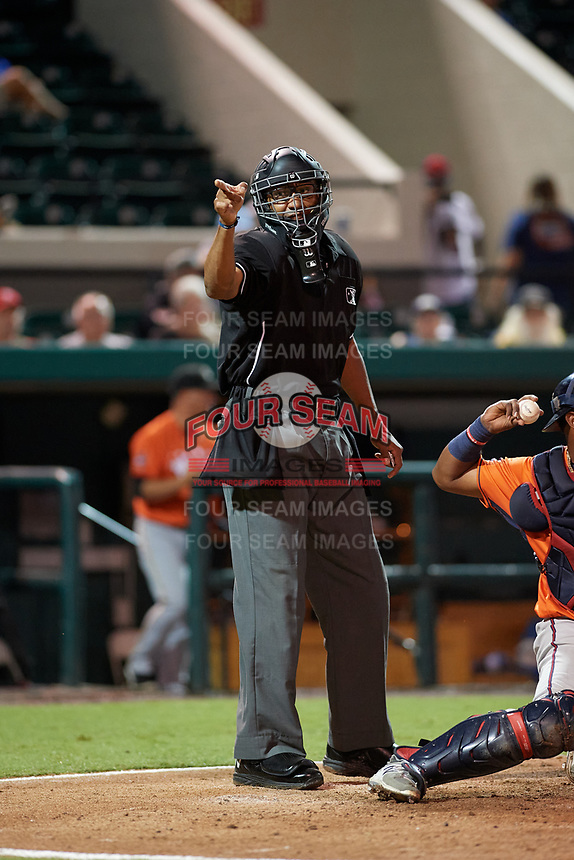 Umpire Jose Navas calls a strike during the Florida State League All-Star Game on June 17, 2017 at Joker Marchant Stadium in Lakeland, Florida.  FSL North All-Stars defeated the FSL South All-Stars  5-2.  (Mike Janes/Four Seam Images)