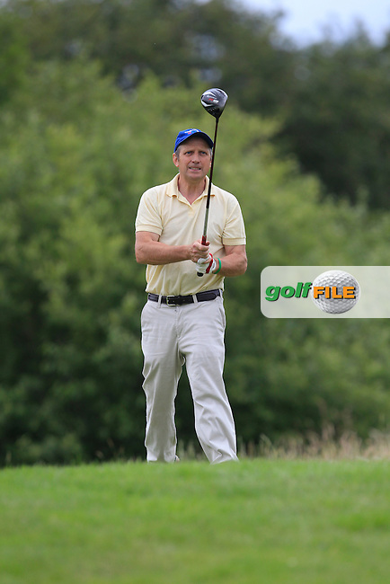 Pat Hennessy (Newcastle West) on the 15th tee during the Final round of the Munster section of the AIG Pierce Purcell Shield at East Clare Golf Club on Sunday 19th July 2015.<br />