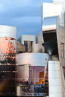 Sunset on the Frederick R. Weisman Art Museum at the University of Minnesota. A stainless steel and brick building designed by architect Frank Gehry, the Weisman Art Museum offers an educational and friendly museum experience.