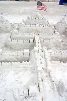 Sand castle on the Florida Gulf of Mexico beach.  North Redington Beach Tampa Bay Area Florida USA