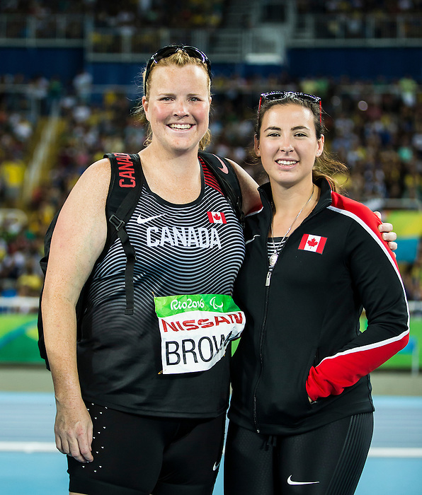 RIO DE JANEIRO - 17/9/2016:  Jen Brown and Renee Foessel competes in the women's F38 discus final at the Olympic Stadium during the Rio 2016 Paralympic Games. (Photo by Dave Holland/Canadian Paralympic Committee).