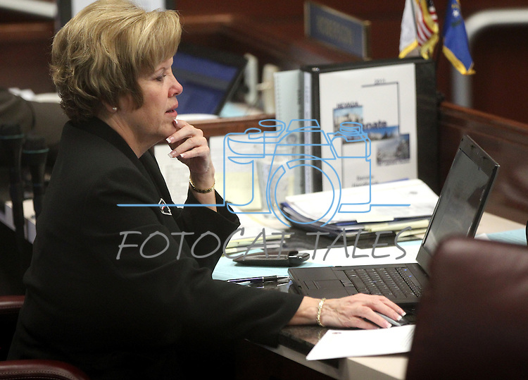 Nevada Sen. Shirley Breeden, D-Henderson, talks on the Senate floor Monday, May 30, 2011, at the Legislature in Carson City, Nev. Breeden's bill that would ban texting while driving passed out of the Assembly Monday and faces another vote in the Senate..Photo by Cathleen Allison