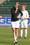 08 November 2009: Florida State's Tori Huster missed the game due to an injury suffered in Wednesday's quarterfinal. The University of North Carolina Tar Heels defeated the Florida State University Seminoles 3-0 at WakeMed Stadium in Cary, North Carolina in the Atlantic Coast Conference Women's Soccer Tournament Championship game.