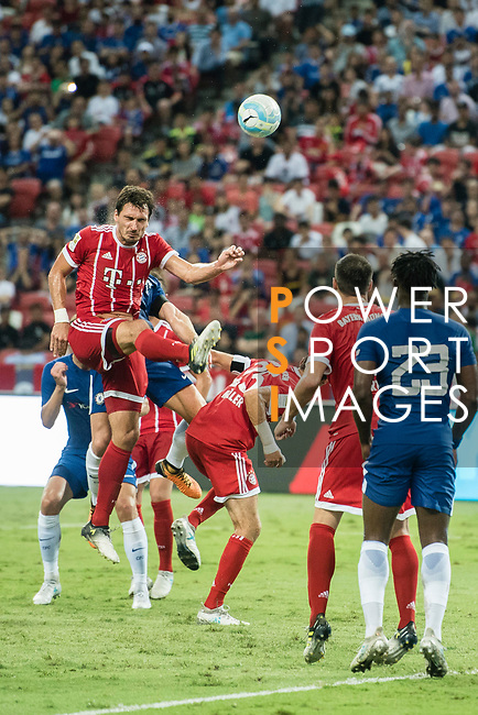 Bayern Munich Defender Mats Hummels (L) in action during the International Champions Cup match between Chelsea FC and FC Bayern Munich at National Stadium on July 25, 2017 in Singapore. Photo by Weixiang Lim / Power Sport Images