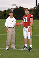 7 August 2006: Stanford Cardinal head coach Walt Harris and Andrew Phillips during Stanford Football's Team Photo Day at Stanford Football's Practice Field in Stanford, CA.