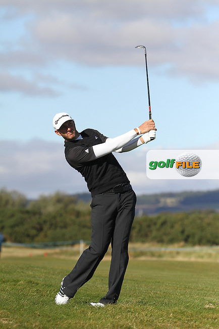 Dustin Johnson (USA) in Carnoustie on the 1st Day at the Alfred Dunhill Links Championship, Old Course St. Andrews, Carnoustie and Kingsbarns, Scotland...(Photo Jenny Matthews/www.golffile.ie)