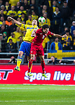 Solna 2013-11-19 Fotboll VM-kval Playoff , Sverige - Portugal :  <br /> Sverige Zlatan Ibrahimovic i nickduell med Portugal Pepe <br /> (Photo: Kenta J&ouml;nsson) Keywords:  Sweden Portugal