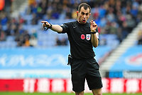 Todays match referee Peter Bankes in action during the Sky Bet Championship match between Wigan Athletic and Swansea City at The DW Stadium in Wigan, England, UK. Saturday 2 November 2019