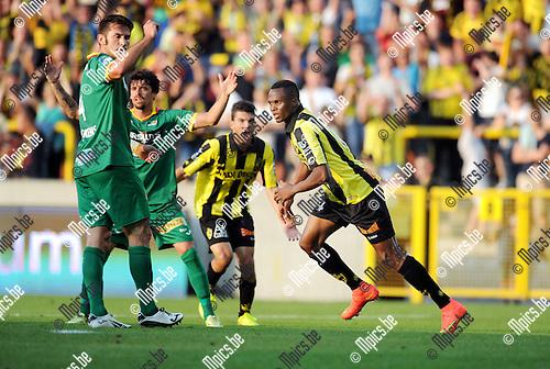 2014-07-26 / Voetbal / seizoen 2014-2015 / SK Lierse - KV Oostende / Alhassane Keita (r. Lierse) scoorde zopas de 1-0<br /><br />Foto: mpics.be