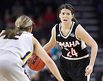 SIOUX FALLS, SD - MARCH 7:  Bobbi Beckwith #24 of Omaha dribbles as Macy Miller #12 of South Dakota State waits in the 2016 Summit League Tournament. (Photo by Dick Carlson/Inertia)