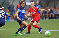 Portland, OR - Saturday July 09, 2016: Brittany Taylor, McKenzie Berryhill during a regular season National Women's Soccer League (NWSL) match between the Portland Thorns FC and FC Kansas City at Providence Park.