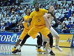 February 4, 2017:  Wyoming forward, Alan Herndon #5, battles Falcon center, Frank Toohey #33, for rebound position during the NCAA basketball game between the Wyoming Cowboys and the Air Force Academy Falcons, Clune Arena, U.S. Air Force Academy, Colorado Springs, Colorado.  Wyoming defeats Air Force 83-74.