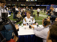 Jarrett Lee of LSU talks with the reporters during BCS Media Day at Mercedes-Benz Superdome in New Orleans, Louisiana on January 6th, 2012.