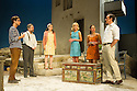 London, UK. 31.05.2016. SUNSET AT THE VILLA THALIA, by Alexei Kaye Campbell, opens at the Dorfman, at the National Theatre. Directed by Simon Godwin. Picture shows: Christos Callow (Stamatis), Elizabeth McGovern (June), Sam Crane (Theo), Glykeria Dimou (Maria), Pippa Nixon (Charlotte), Ben Miles (Harvey). Photograph © Jane Hobson.
