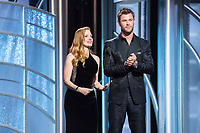 Jessica Chastain and Chris Hemsworth present during the 75th Annual Golden Globe Awards at the Beverly Hilton in Beverly Hills, CA on Sunday, January 7, 2018.<br /> *Editorial Use Only*<br /> CAP/PLF/HFPA<br /> &copy;HFPA/PLF/Capital Pictures