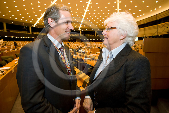 BRUSSELS - BELGIUM - 07 FEBRUARY 2008 -- Regional Minister Josef MARTINZ, Austrian Region of Carinthia, speaking with Mariann Fischer BOEL, EU-Commissioner for Agriculture during a meeting in the Committee of the Regions.    Photo: Erik Luntang/EUP-IMAGES/