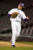 April 4, 2008: University of Washington junior Nick Haughian celebrates his 2-hit complete game shutout against the University of Arizona at Safeco Field in Seattle, Washington.